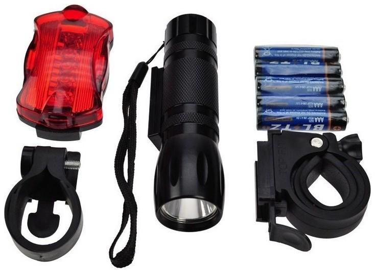 Solight Sada świateł rowerowych - przednie LED 3W + tylne 5xLED, 2x uchwyt, 2x+3xAAA baterie