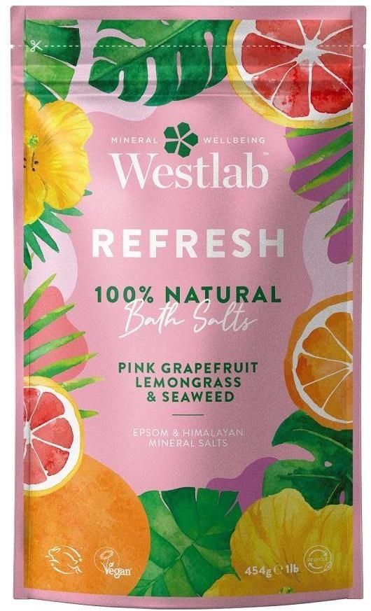 Westlab Westlab Refresh  Różowy Grejpfrut & Trawa Cytrynowa & Algi 454g odświeżająca sól do kąpieli