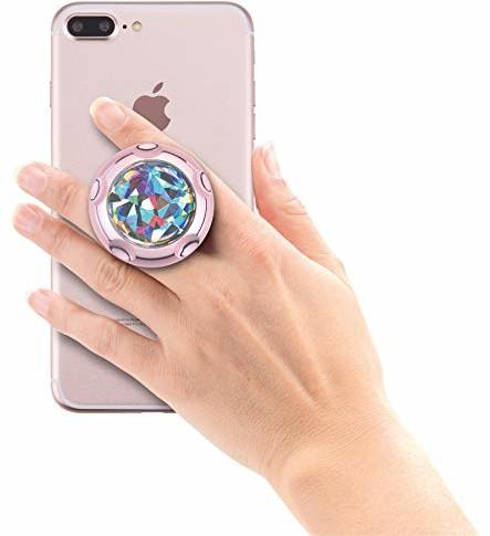 HR imotion Jumpop Glamour wysuwany uchwyt do urządzeń mobilnych / smartfonów [samoprzylepny I kompatybilny z uchwytami magnetycznymi I Do dużych i małych rąk Funkcja stojaka] - różowe złoto diament cięcie 70310233