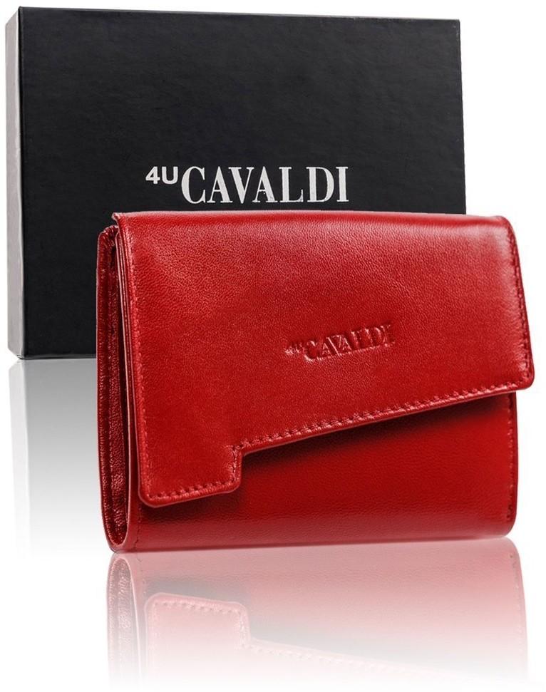 Cavaldi 4U Skórzany portfel damski z asymetryczną klapką, półmatowy