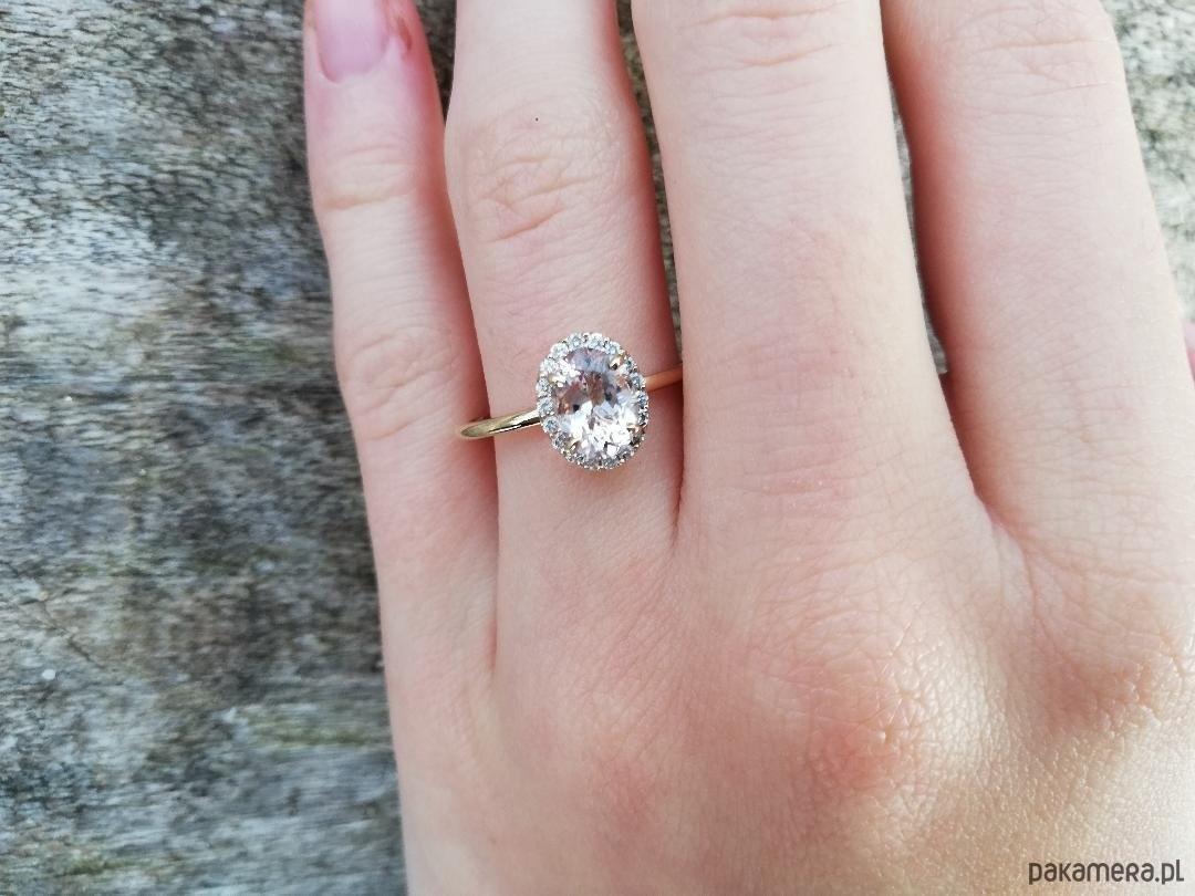 Skagen Morganit i diamenty- pierścionek zaręczynowy