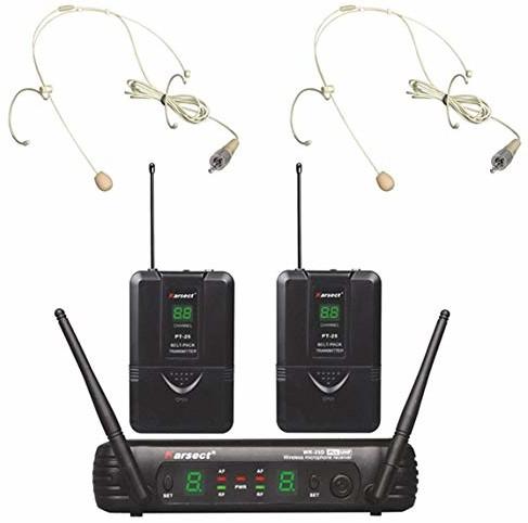 Karsect Electronics Co., Ltd. WR-25D PT25-HT3A - bezprzewodowy zestaw mikrofonów z 2 mikrofonami w zestawie słuchawkowym i 16 kanałami, zapewnia dużą swobodę ruchów KA-WR25D-PT25-HT3A