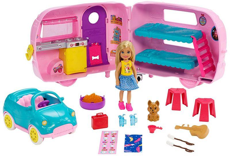 Mattel Chelsea z przyczepa kampingową+ lalka DXG90 FXG90