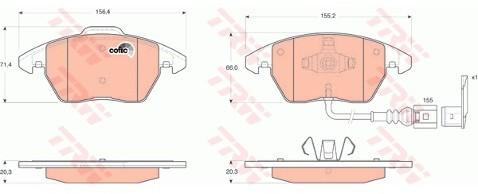 TRW Zestaw klocków hamulcowych, hamulce tarczowe GDB1550