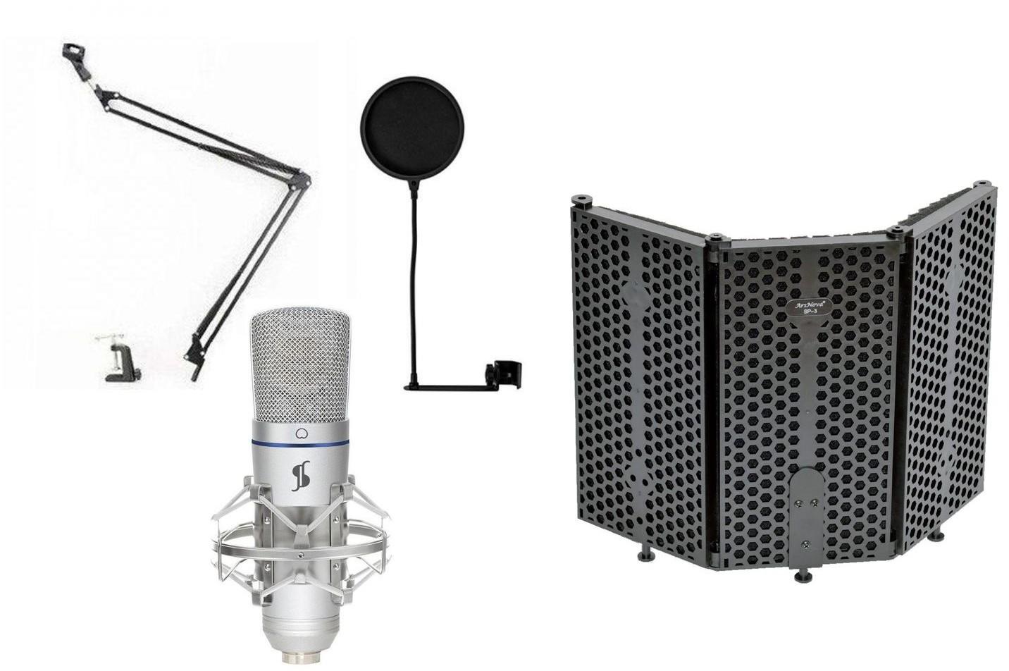 Stagg SUSM50 - mikrofon studyjny USB + ekran akustyczny + pop filtr + statyw