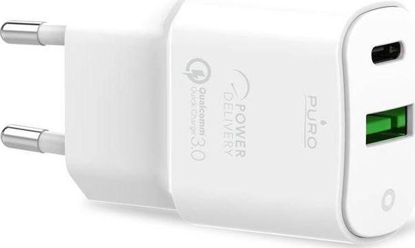PURO Ładowarka White Mini Fast Travel Charger Ładowarka sieciowa USB-A + USB-C Power Delivery 20W biały PUR414WHT