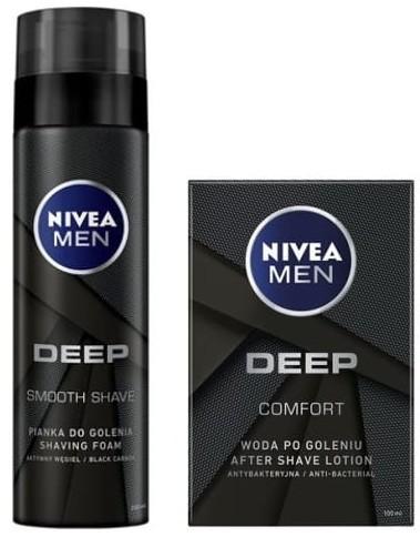 Nivea Men MEN DEEP zestaw pianka do golenia 200ml + woda po goleniu 100ml NIV-00217