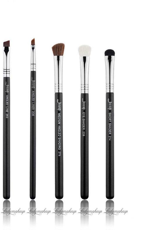 Jessup beauty JESSUP - Pro Brushes Set - Zestaw 5 pędzli do makijażu - T302 Black/Silver