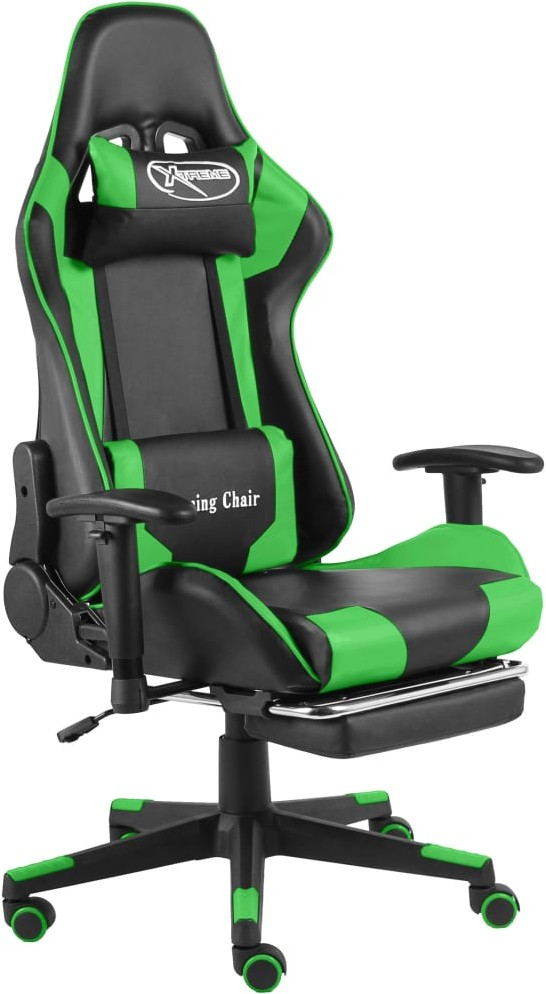 vidaXL otel gamingowy z podnóżkiem, zielony, PVC