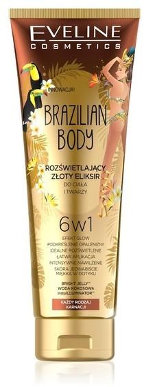 Eveline Brazilian Body Rozświetlający Złoty Eliksir do ciała i twarzy 6w1 100ml