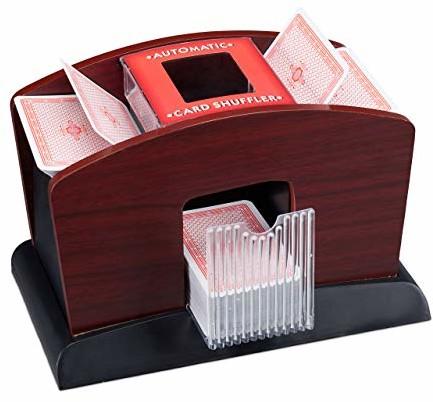 Relaxdays elektryczna mikser do kart, drewno, 4 pokłady, mikser do kart do mieszania kart, czarno-brązowy 10023478