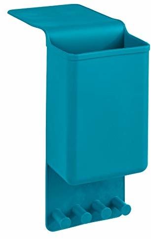 Wenko 23488100 uchwyt na prostownicę Ampio Petrol - uchwyt ścienny do prostownicy, mocowanie bez wiercenia, silikon, 10 x 36,5 x 6,5 cm