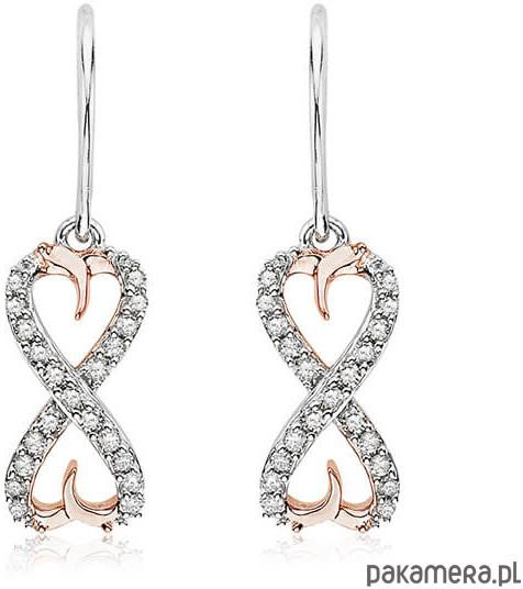 Diamenty złote kolczyki różowe złoto 585.
