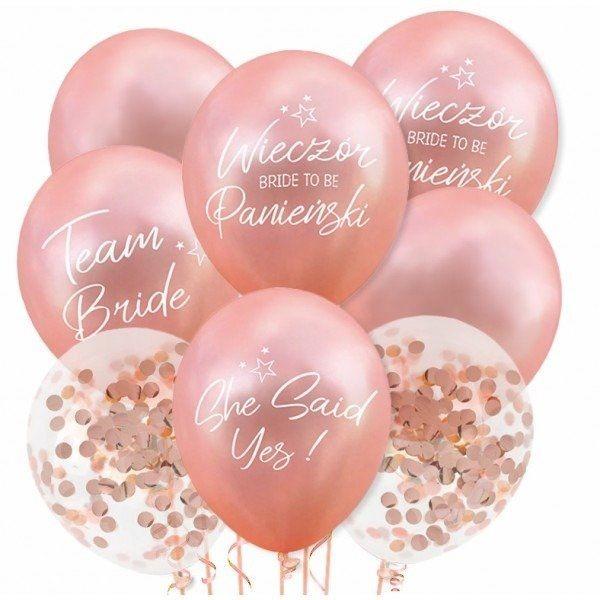 Dekoracjepolska Balony na Wieczór Panieński rose gold 15 sztuk ZB29 ZB29