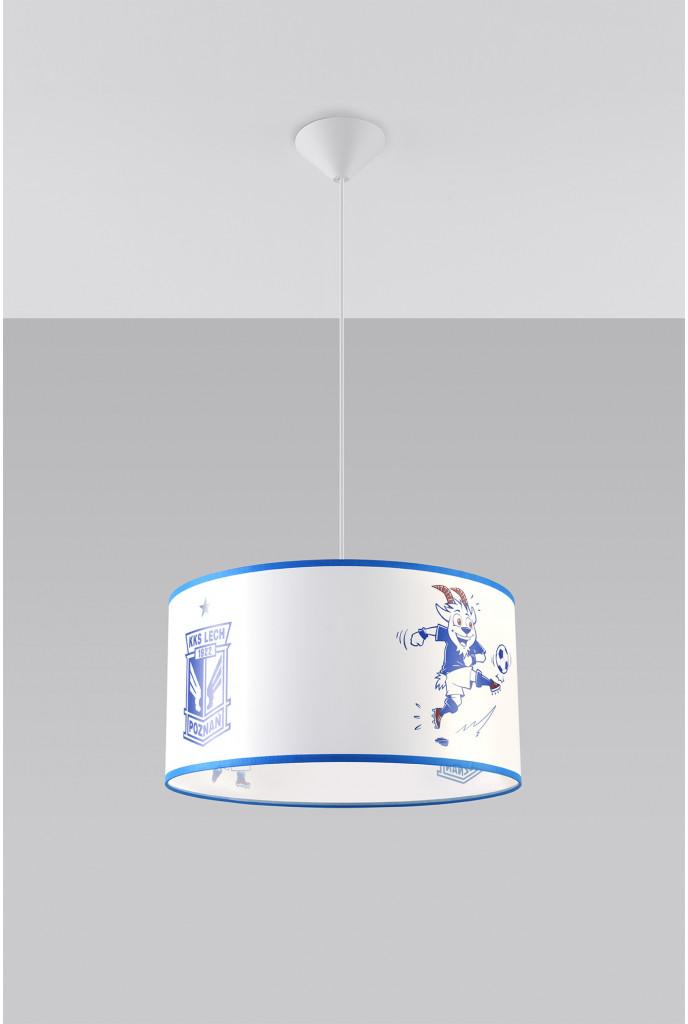 Sollux Lighting Lighting Oryginalna Oprawa Sufitowa Lampa Wisząca KKS LECH 40 Strefa Kibica Zwis E27 Abażur Biały Niebieski Pokój Dziecięcy Nowoczesne Oświetlenie SL.0725