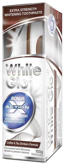 White Glo White Glo Coffee & Tea Drinkers Formula pasta wybielająca usuwająca osad z kawy i herbaty + szczoteczka 150g
