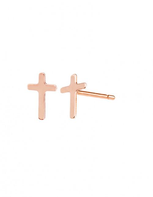 Minty dot Kolczyki z różowego złota Petit Krzyżyk
