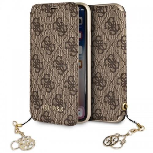 Guess Book 4G Charms Collection - Etui iPhone X z kieszeniami na karty (brązowy)