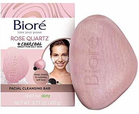 BIORÉ mydło do oczyszczania twarzy  różowy kwarc i węgiel aktywny  Facial Cleansing Bar  mydło do twarzy  głęboko oczyszcza pory, trójpak (3 x 107 g), różowe