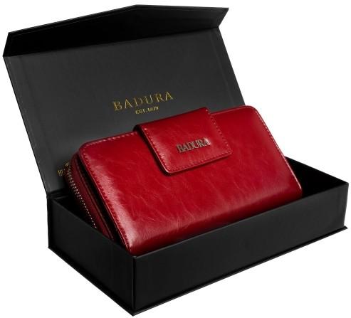 Badura BADURA portfel damski skórzany XXL piórnik na zamek 99537