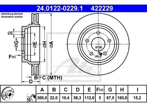 ATE TARCZA HAM 24.0122-0229.1 MERCEDES W221 S 350 BLUETEC 11-  24.0122-0229.1
