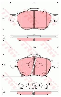 TRW Zestaw klocków hamulcowych, hamulce tarczowe GDB3335