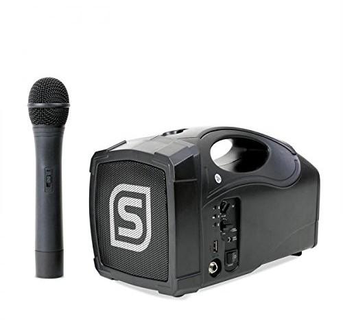 Skytec ST-010lautstarkes megafon z 12cm głośnik radiowy + mikrofon radiowy z zasięgiem 35meter (wejście USB, wbudowany akumulator, wygodne trzymanie urządzenia mobilne) Czarny 178869