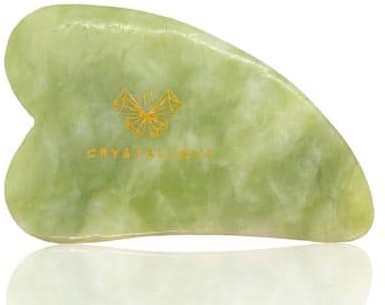 CRYSTALLOVE Guasha płytka do masażu twarzy Gua Sha z Jadeitu Crystallove