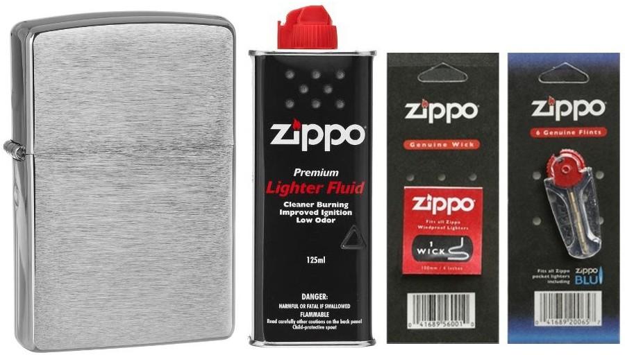 Zippo [Zestaw] 200 + Zestaw eksploatacyjny (benzyna, knot, kamienie)