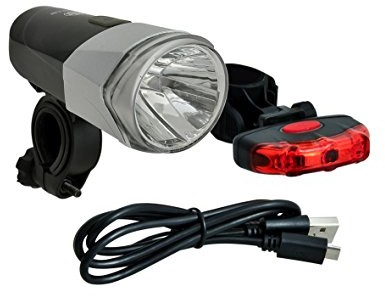 Büchel zestaw lampek rowerowych 30LUX LED Seattle, bateria litowo-jonowa, ładowarka USB, zgodne z niemieckimi wytycznymi prawa drogowego, srebro-czarne, 51225470 51225470_Silber/Schwarz