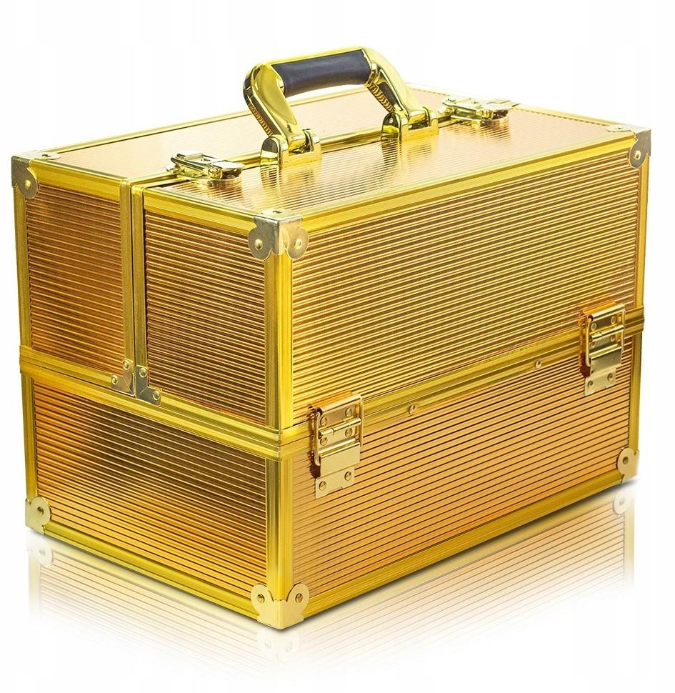 Kuferek Na Kosmetyki Hybrydy Lampę Gold 3D Złoty