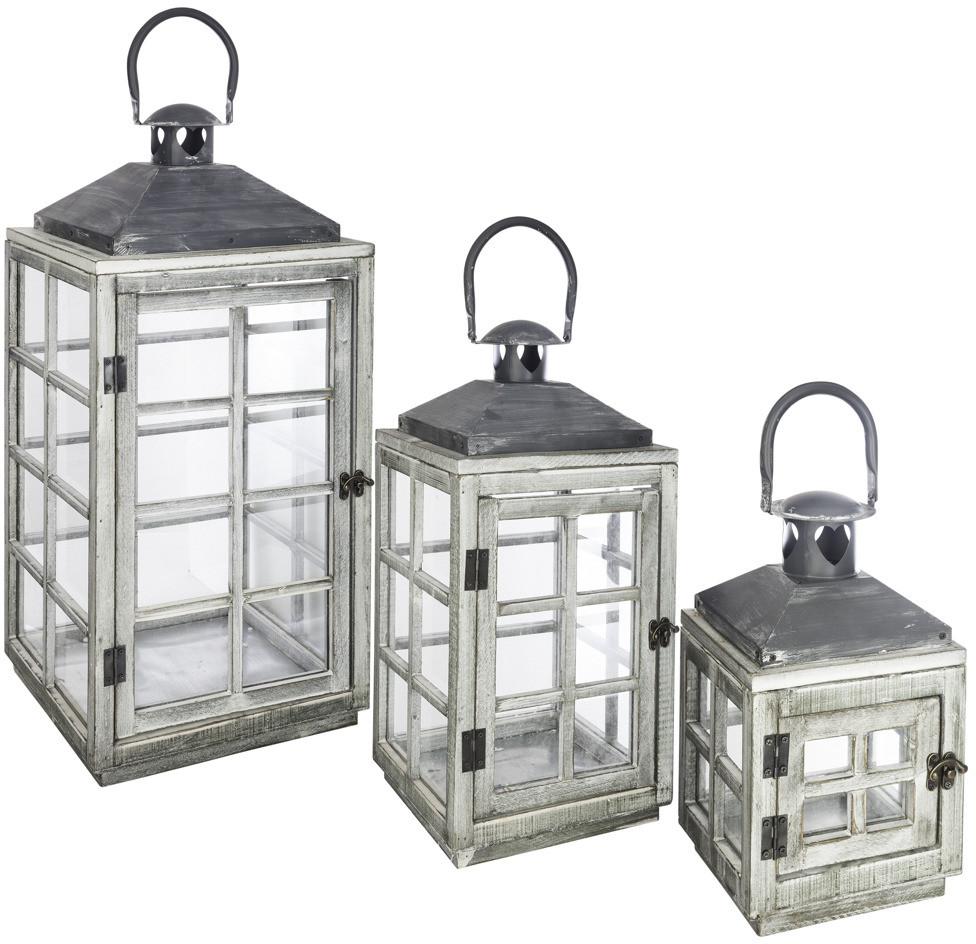 Atmosphera Créateur d'intérieur Zestaw trzech lampionów z drewna ze szklanymi bokami podzielnymi szprosami uchwytem do przenoszenia/zawieszania kolor biały Atmosphera Créateur dintérieur (B07FQFP7MZ)