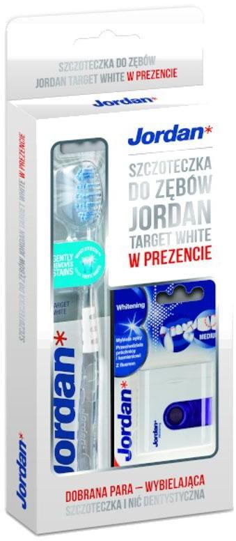 Jordan zestaw Whitening Floss Target szczoteczka + nić wybielająca