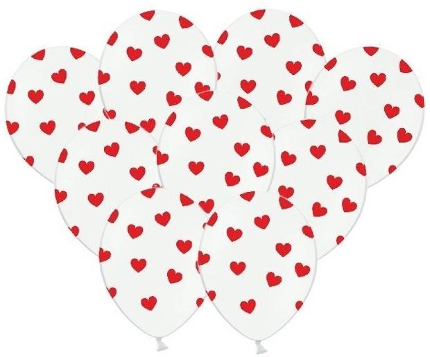 Partydeco Balony 30cm w czerwone serduszka 50szt SB14P-228-008/50 SB14P-228-008/50