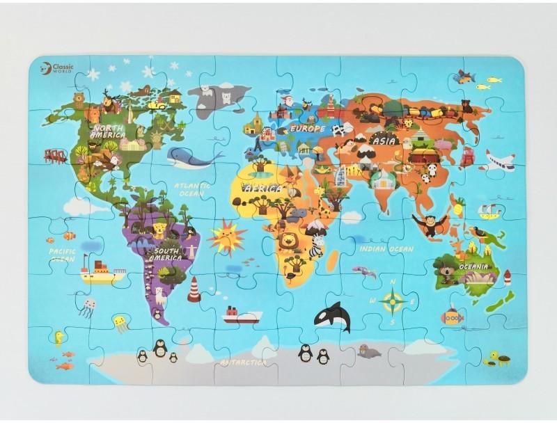 Classic World Puzzle Mapa Świata CW40017