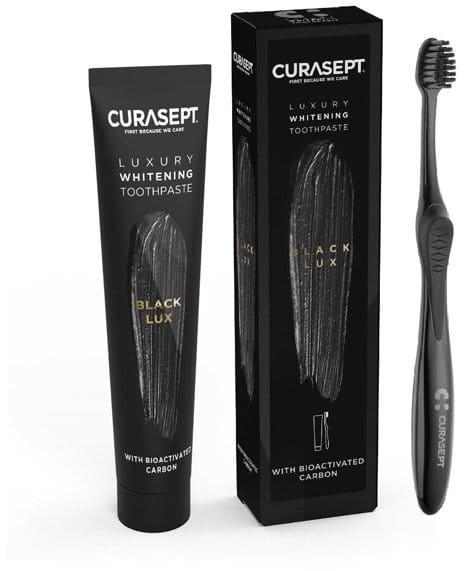 Curasept CURASEPT Whitening Luxury System CARBON BLACK - zestaw wybielająca pasta do mycia zębów + szczoteczka, 75 ml