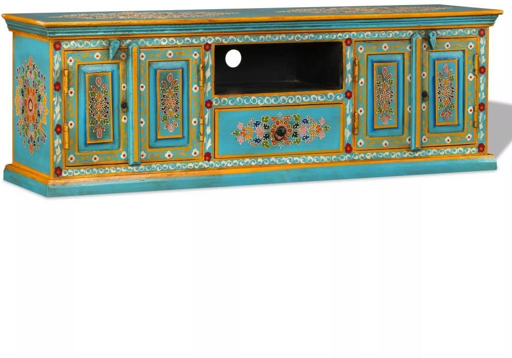 vidaXL Szafka pod telewizor, drewno mango, niebieska, ręcznie malowana vidaXL