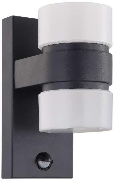 Eglo Kinkiet LAMPA elewacyjna ATOLLARI 96276 zewnętrzna OPRAWA do ogrodu LED 12W ścienna tuba z czujnikiem ruchu IP44 grafitowa 96276