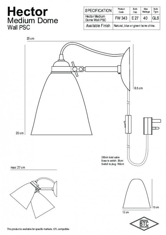 Original BTC Hector Medium Dome Kinkiet 20x12 cm IP20 E27 GLS biały FW343N