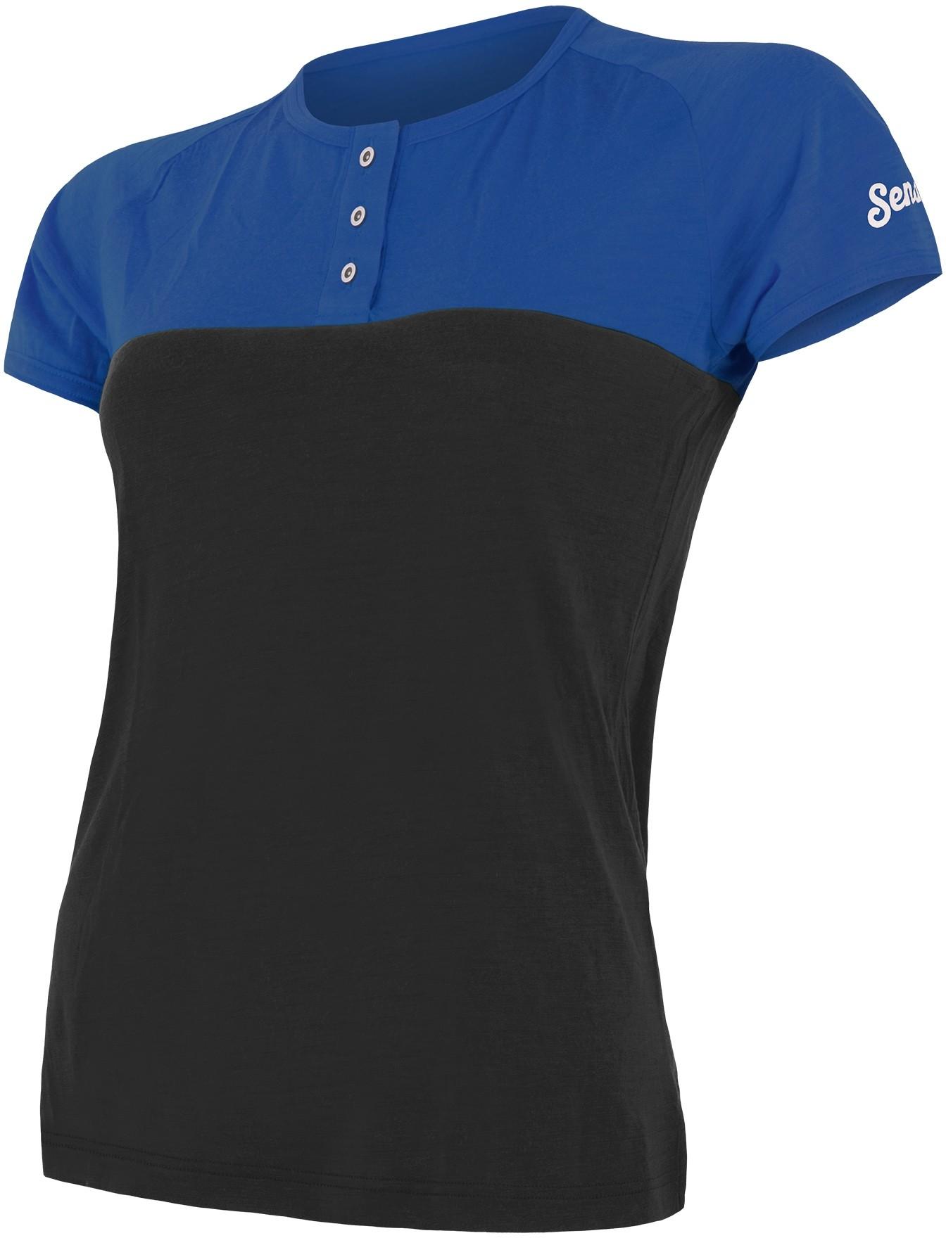 Sensor t shirt damski z guzikami Merino Air PT niebiesko czarny XL