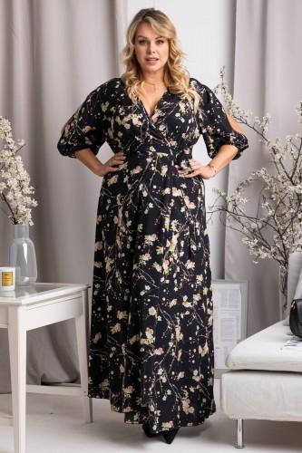 KARKO Sukienka długa koperowa plus size DRAGONA gałązki i kwiaty na granatowym tle SB050