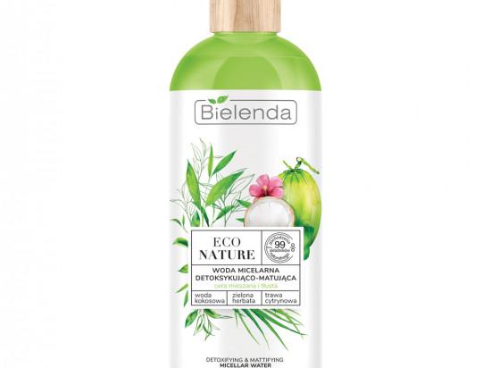 BIELENDA ECO NATURE - Woda kokosowa + Zielona Herbata + Trawa Cytrynowa - woda micelarna do oczyszczania i demakijażu detoksykująco-matująca, 500 ml