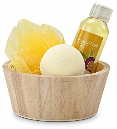 Römer Wellness zestaw upominkowy: Yellow in Balance, 4-częściowy z drewnianymi koszykami, żel pod prysznic, 50 ml, 1 kula do kąpieli + 1 gąbka, zapach: marakuja, 200 g