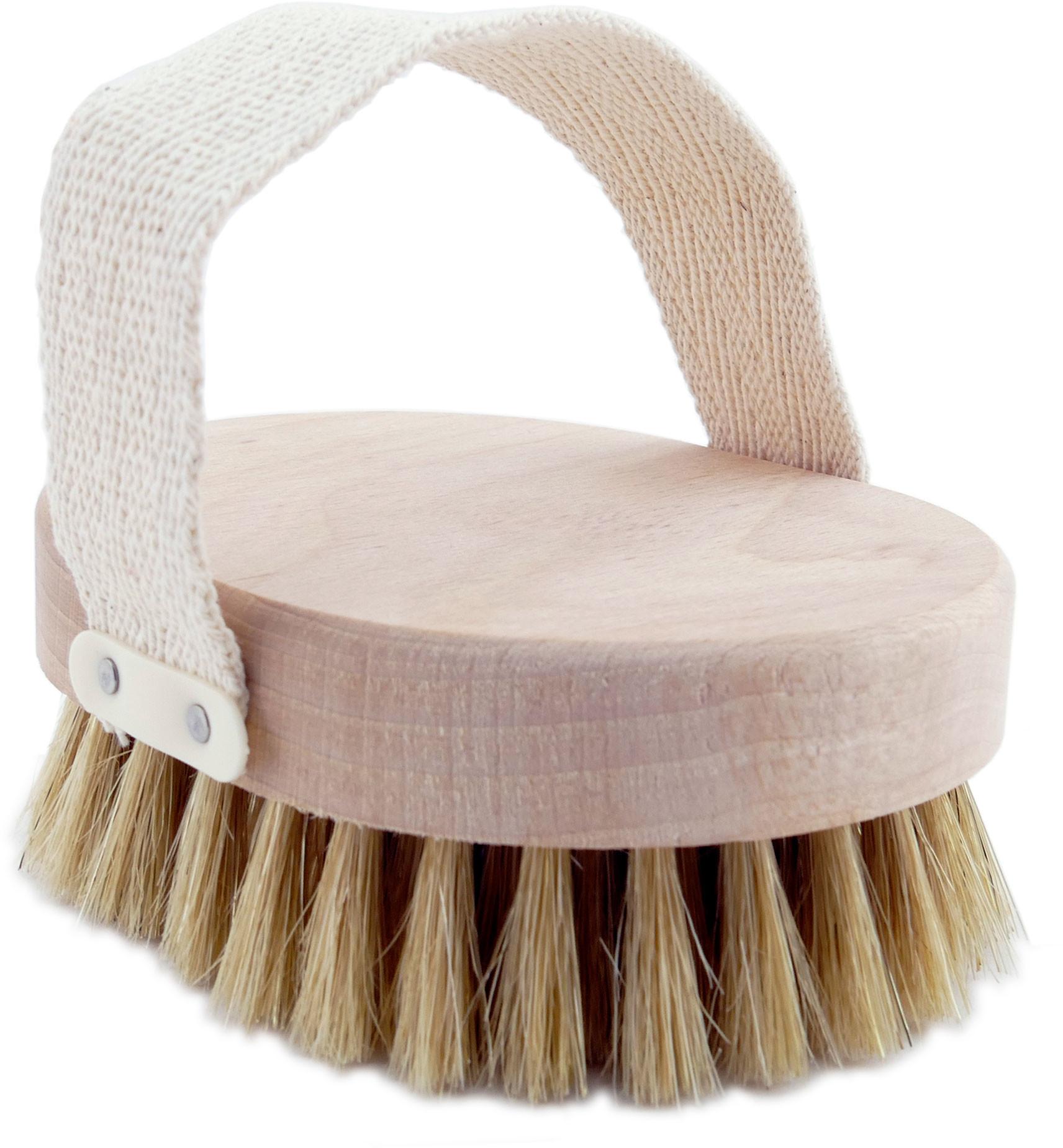 Szczotka do masażu z naturalnego włosia z paskiem