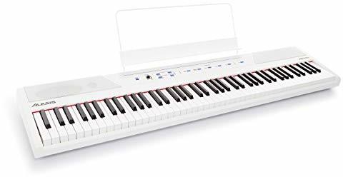 Alesis Recital White 88 klawiszów, pianino cyfrowe/E keyboard z półważonymi przyciskami, wbudowanymi głośnikami 20 W i pięcioma głosami klasy premium, 3-miesięczny Skoove, biały RECITALWHITEXUS