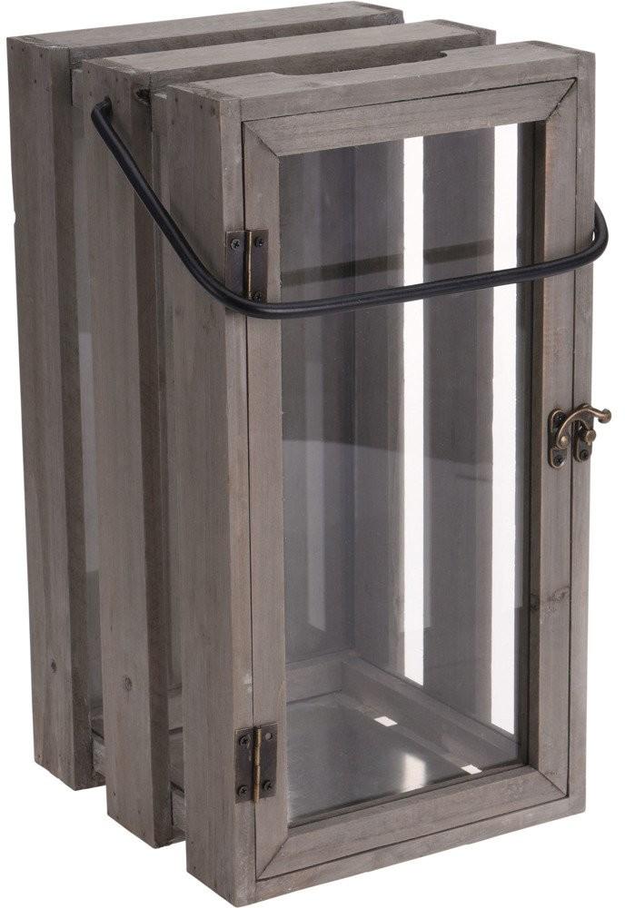 Home Styling Collection Latarnia drewniana dekoracyjna do salony wykonana w stylu industrialnym 500000500
