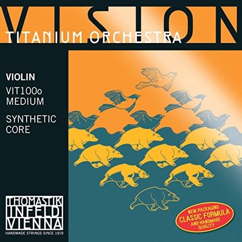 Thomastik Struny do skrzypiec Violin Vision Titanium ochestra syntetyczny zestaw rdzenia 4/4 średni z niepowlekaną stalą E, do orkiestracji i komory VIT100O