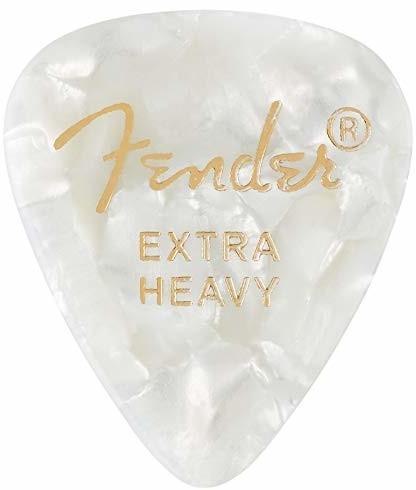 Fender 351 SHAPE CLASSIC PICKS celuloid Plektren - kształt: 351 - opakowanie 12 sztuk - grubość: X-Heavy - kolor: White Moto 1980351605
