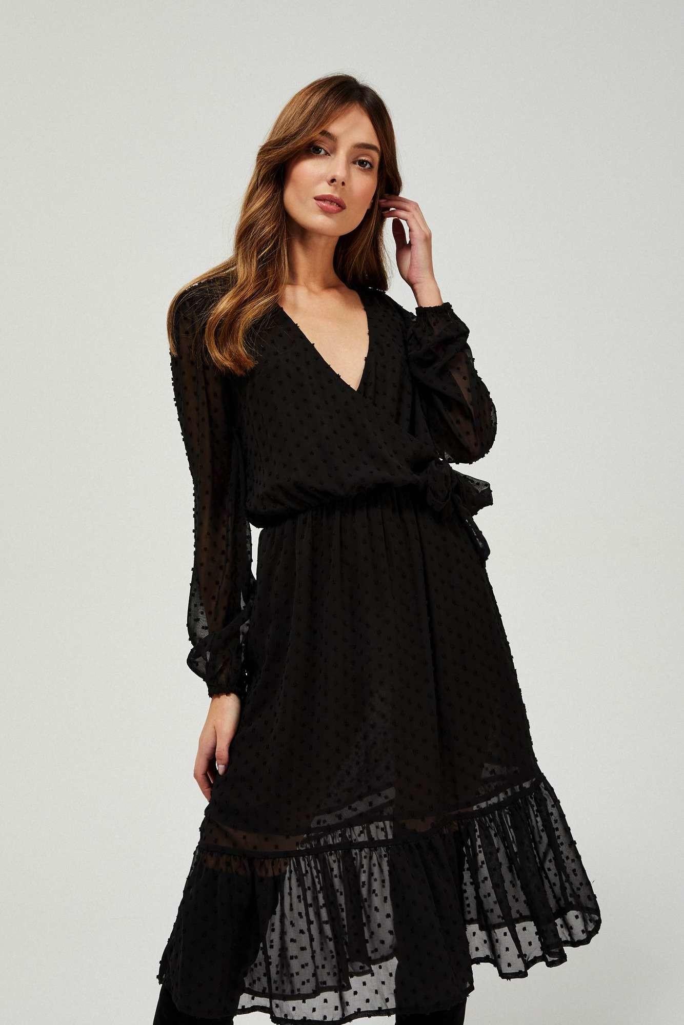 Moodo Sukienka w groszki z falbaną Z-SU-3339 BLACK; 38
