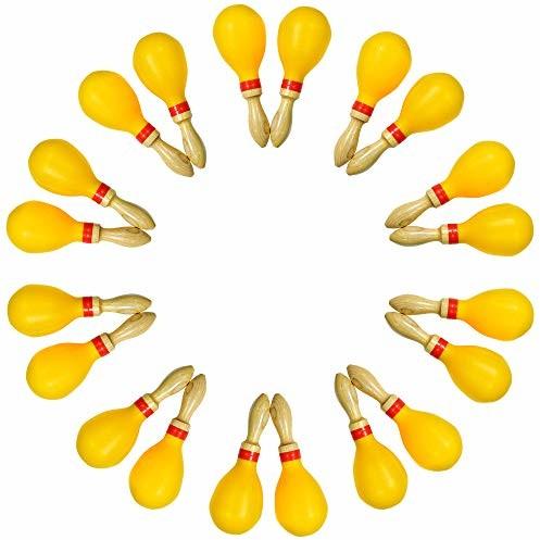 A-Star A-Star duże plastikowe marakasy z rączką z drewna - 25 cm shaker, instrument rytmowy edukacyjny - opakowanie 10 par AP5161PK
